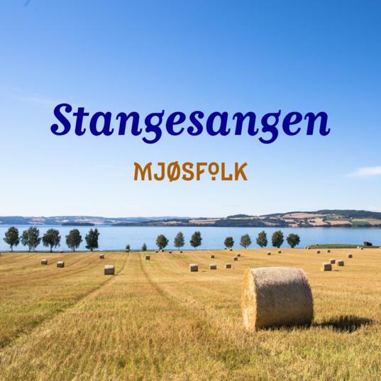 """Tittel """"Stangesangen - Mjøsfolk"""" lagt over bilde av kornåkre ned mot Mjøsa"""